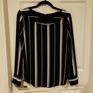 Ann Taylor Black and White Striped Blouse